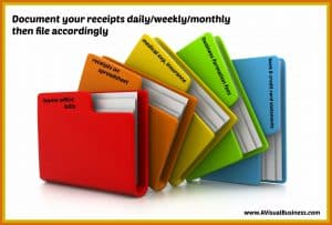 Document your receipts regularly and file accordingly