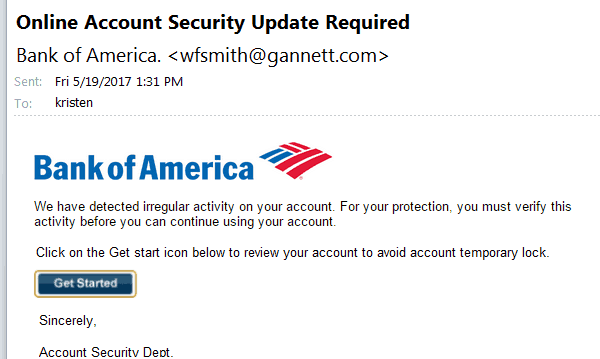 Phishing email from a bank, that isnt legit